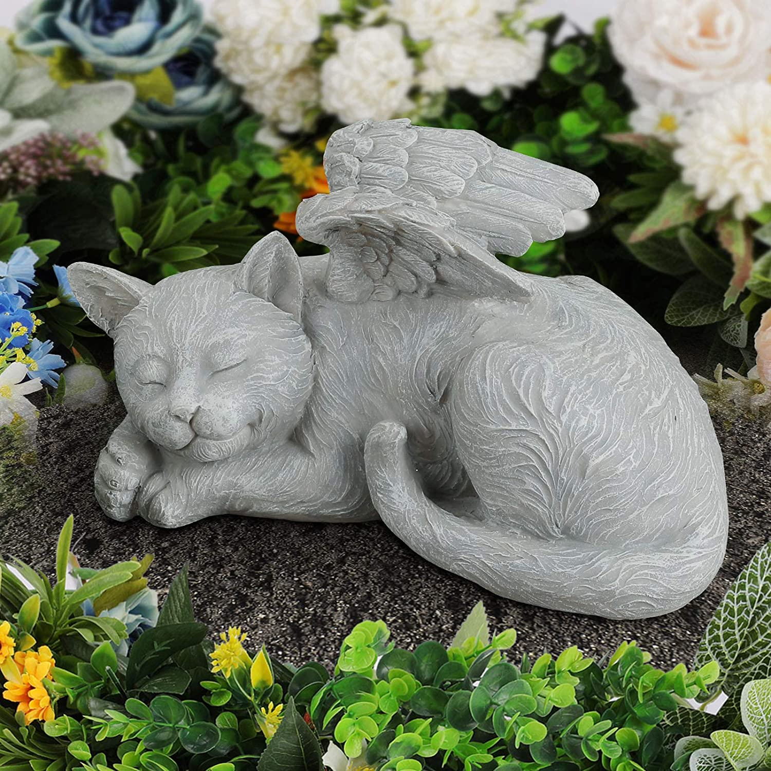 Giftchy Pet Memorial Stones for Cats, Angel Cat Bereavement Gifts, Pets Grave Marker & Tribute Statue (9.875