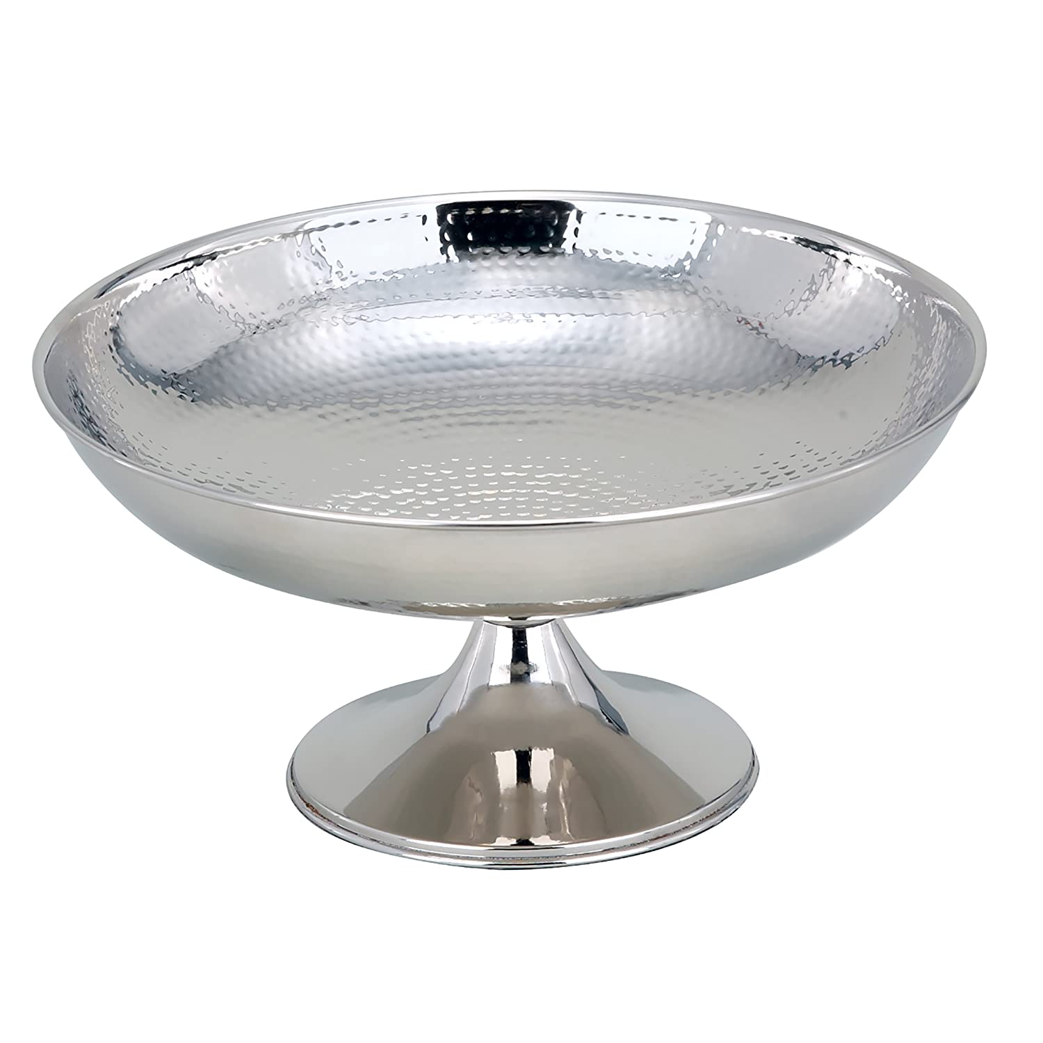Elegance 72662 Hammered Footed Centerpiece Bowl, 12-Inch Dia, Silver Elegance Silver