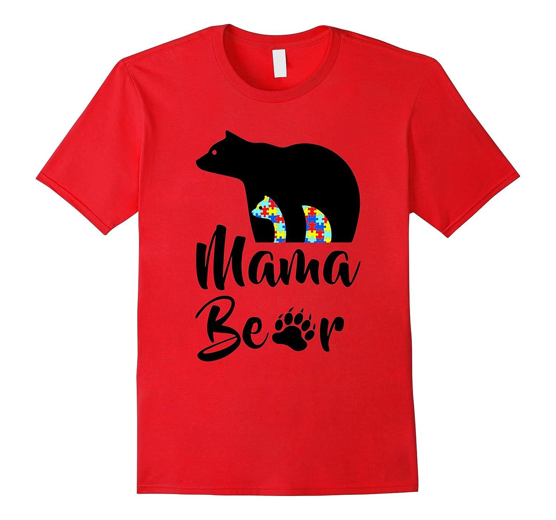 Mama Bear Autism Mom Son Daughter Black T-Shirt-CD