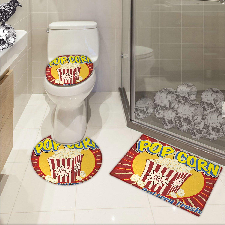 jwchijimwyc Retro 3 Piece Bathroom Rug Set Vintage Grunge Pop Corn Commercial Print Old Fashioned Cinema Movie Film Snack Artsy customized Multicolor
