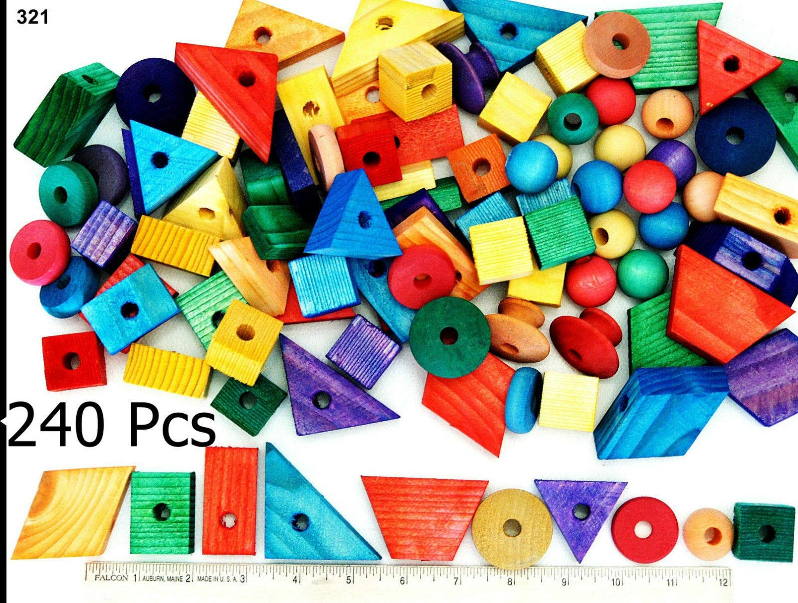 Parrot toys Wood Wooden Colored 240 Blocks Pet Bird Parts Toys Making Toy Mini Macaw by Parrot toys