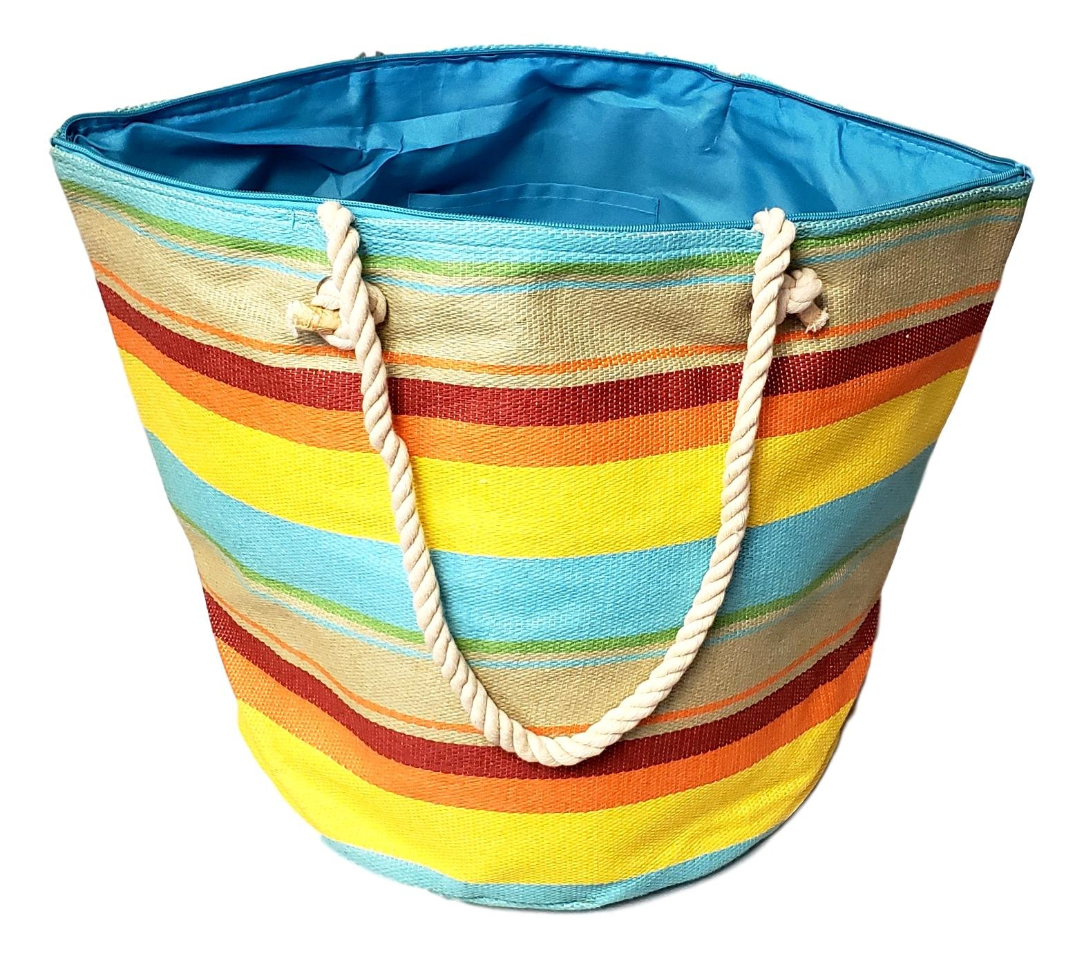 XL Hobo Bucket Striped Summer Womens Beach Bag Tote with Zipper Top (Sunset Stripe) by 101 BEACH (Image #3)