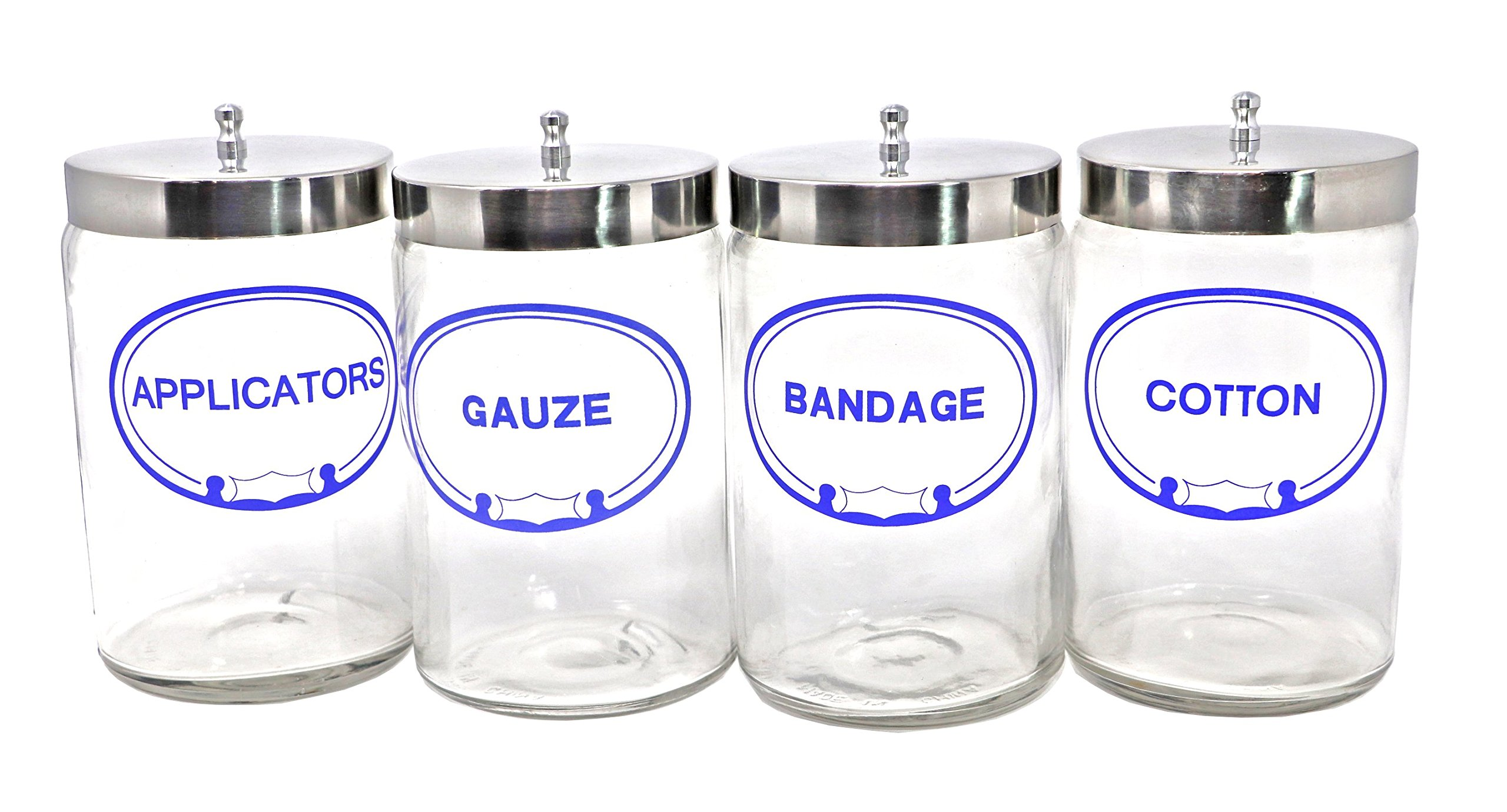 Pivit Imprinted Flint Glass Apothecary Sundry Jars With Lids   7''H X 4.25''D Clear   Set of 4   Bandages, Applicators, Gauze, Cotton Labeled   Polished Aluminum Tops   Storage For Medical and Supplies