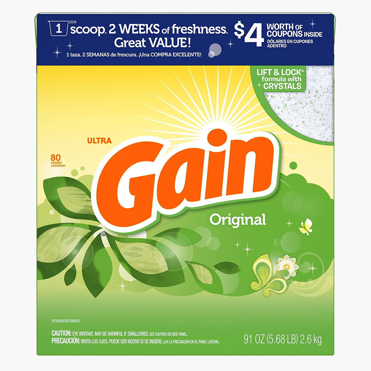 Gain Ultra with Freshlock Original Powder Laundry Detergent, 91 oz