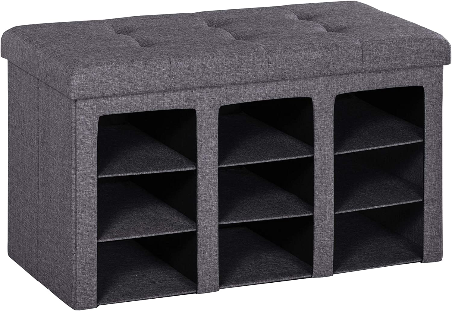 HOMCOM Modern Folding Storage Cabinet Ottoman Bench Padded Seat Foot Rest for Bedroom & Hallway with 9 Cubes, Grey
