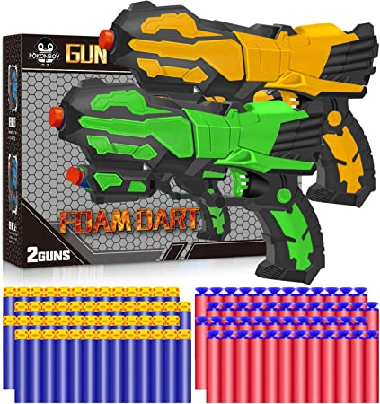 POKONBOY 2 Pack Blaster Toy Guns Fit for Nerf Guns for Boys with 60 PCS Soft Foam Bullets Darts as Kids Gift