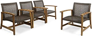 Great Deal Furniture Viola Outdoor Wood and Wicker Club Chairs (Set of 4), Teak Finish and Mixed Mocha
