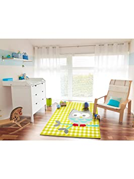benuta Tapis Enfants / pour chambre d\'enfants Flash Petit Hibou pas cher  Vert 120x170 cm - Label de qualité GuT - 100% Polypropylène - Carreaux / ...