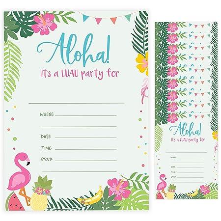Tarjetas de invitación para cumpleaños de Luau Style 1 (10 ...