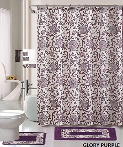 18 Piece Bath Rug Set Lavender Purple Silver Grey Print Bathroom Rugs Shower Curtain Rings