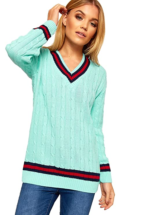 ccc7165136f Womens Ladies Sports warm Sweater Plus Size V Neck Cricket Jumper Pullover  top UK SIZES (