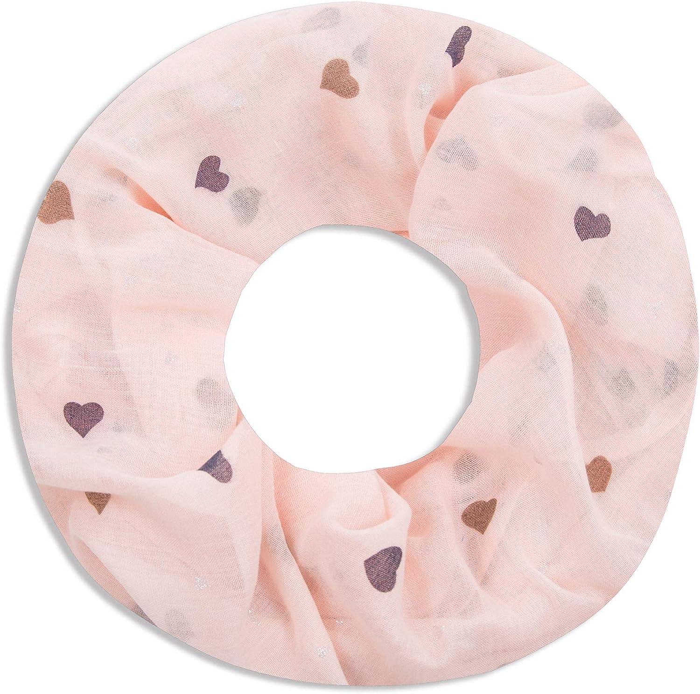 Faera Damen Schal Sweet Heart weich und luftig mit Herzen Loopschal Rundschal in verschiedenen Farben