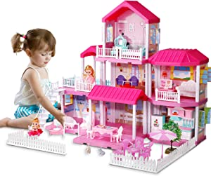 Temi Kids Dreamy Dollhouse Building Toys Figure w/ Furniture, Accessories and Dolls, for Toddlers, Boys & Girls (7 Rooms)