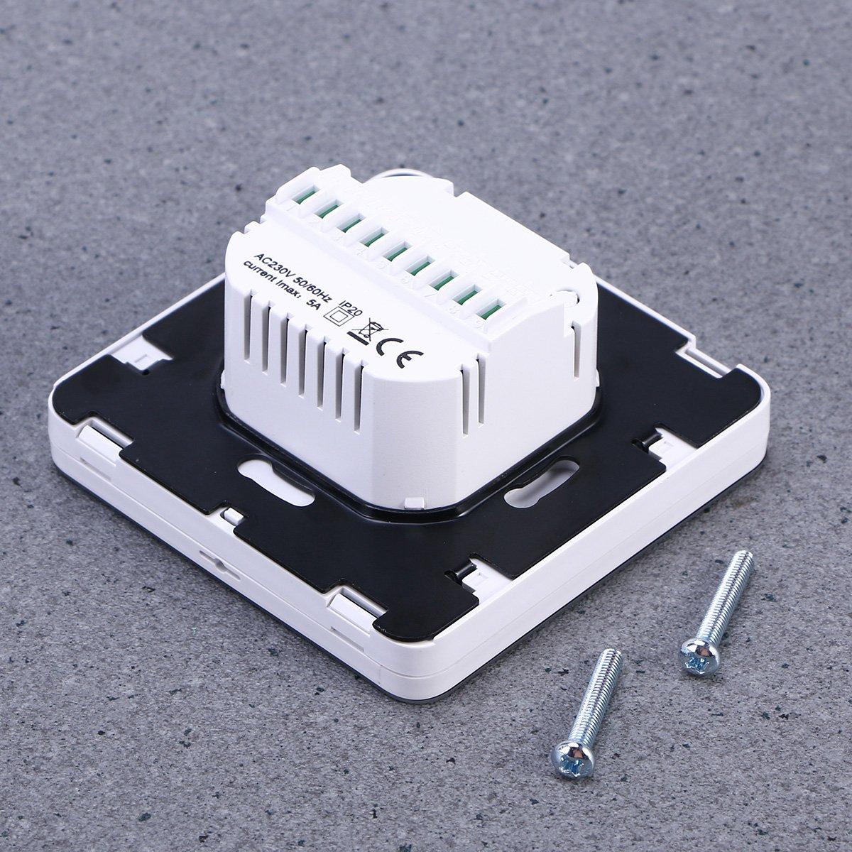 Vosarea Termóstato Digital de Pantalla LCD para regulador de Temperatura de Calefacción para Unidades de Fan Coil del Aire Acondicionado Central (Blanco): ...