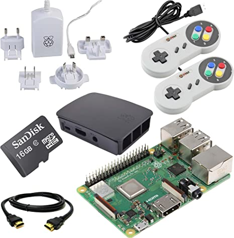 Raspberry Pi 3B+ 16GB Retro Gaming Bundle with 2 SNES Style ...