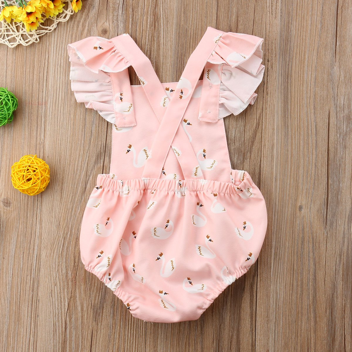 f904a30b3de Amazon.com  doublebabyjoy Baby Girls Flower Print Buttons Short Sleeve  Ruffles Backless Pink Romper Bodysuit Jumpsuit  Clothing