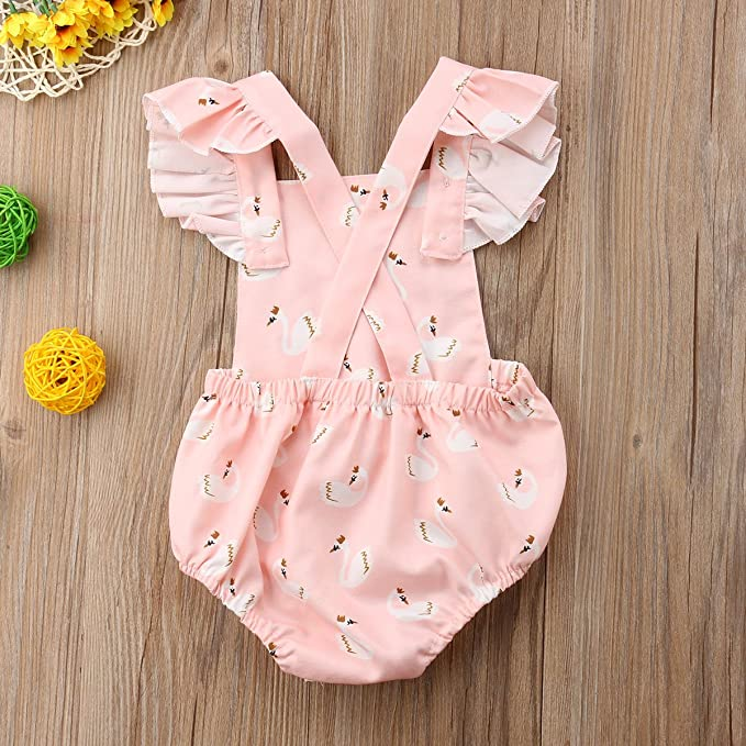 12993fa100f0 Amazon.com  doublebabyjoy Baby Girls Flower Print Buttons Short Sleeve  Ruffles Backless Pink Romper Bodysuit Jumpsuit  Clothing