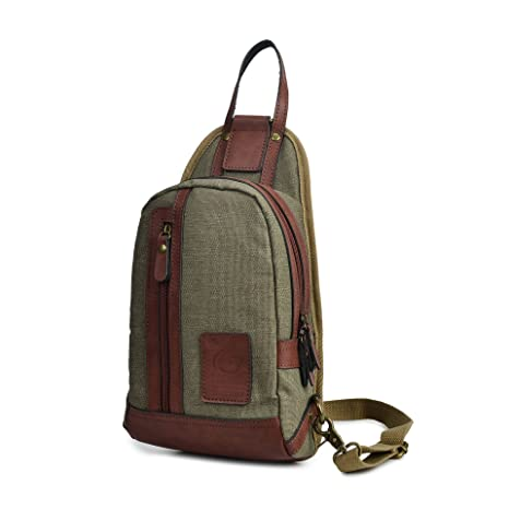 34f74e26f1 MiCoolker Mens Crossbody Chest Bag Canvas Sling Shoulder Backpacks for  Women Outdoor Travel Bag Casual Unbalance