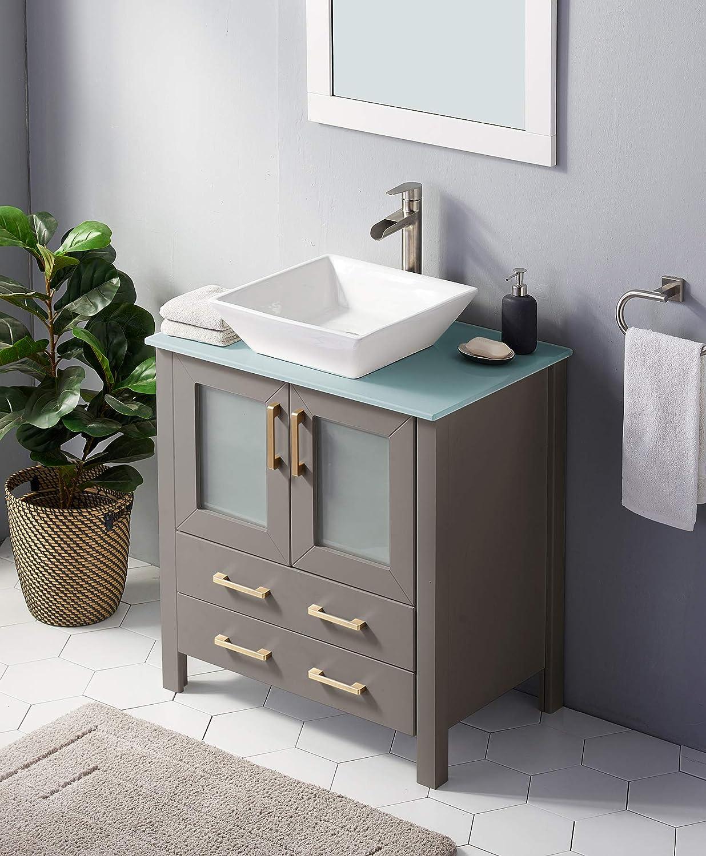 30 Inch Premium Grey Bathroom Vanity Sink Combo Bath Vanity With Sink Modern Bathroom Vanity Cabinet With Ceramic Sink Single Bathroom Vanity Set With 1 Shelf 2 Drawers Kitchen Bath Fixtures Tools