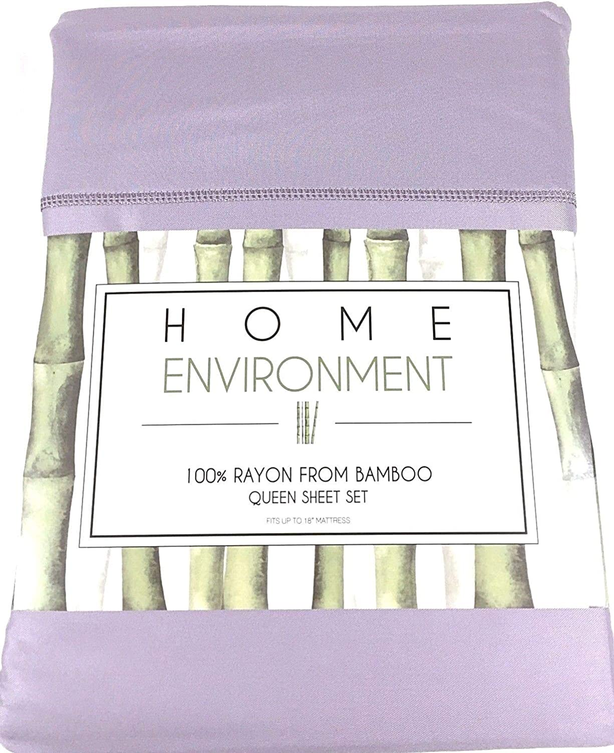 Home Environment Lavender Lilac Queen Sheet Set 100% Rayon from Bamboo - Antibacterial Eco-Friendly
