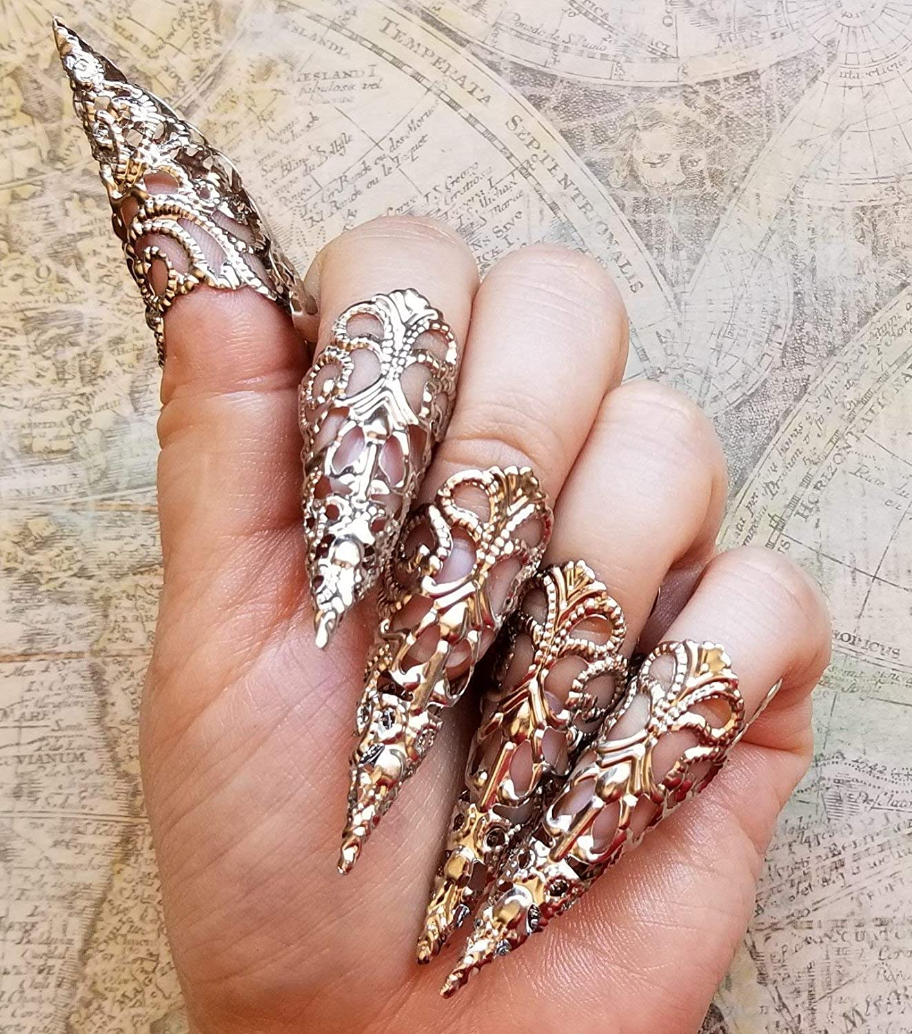 Stiletto Nail Salons Los Angeles: 5 Silver Brass Nail Armour Rings, Cosplay Accessories