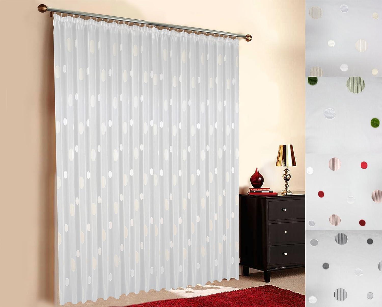 - Maßgeschneiderte weiße Scherli Voile Store Gardine  Effekt Kreise , inklusive Kräuselband (Universalband), Vorhang nach Maß, Höhe 90 – 295 cm, Breite 1 –12 Meter (Weiß, 225 x