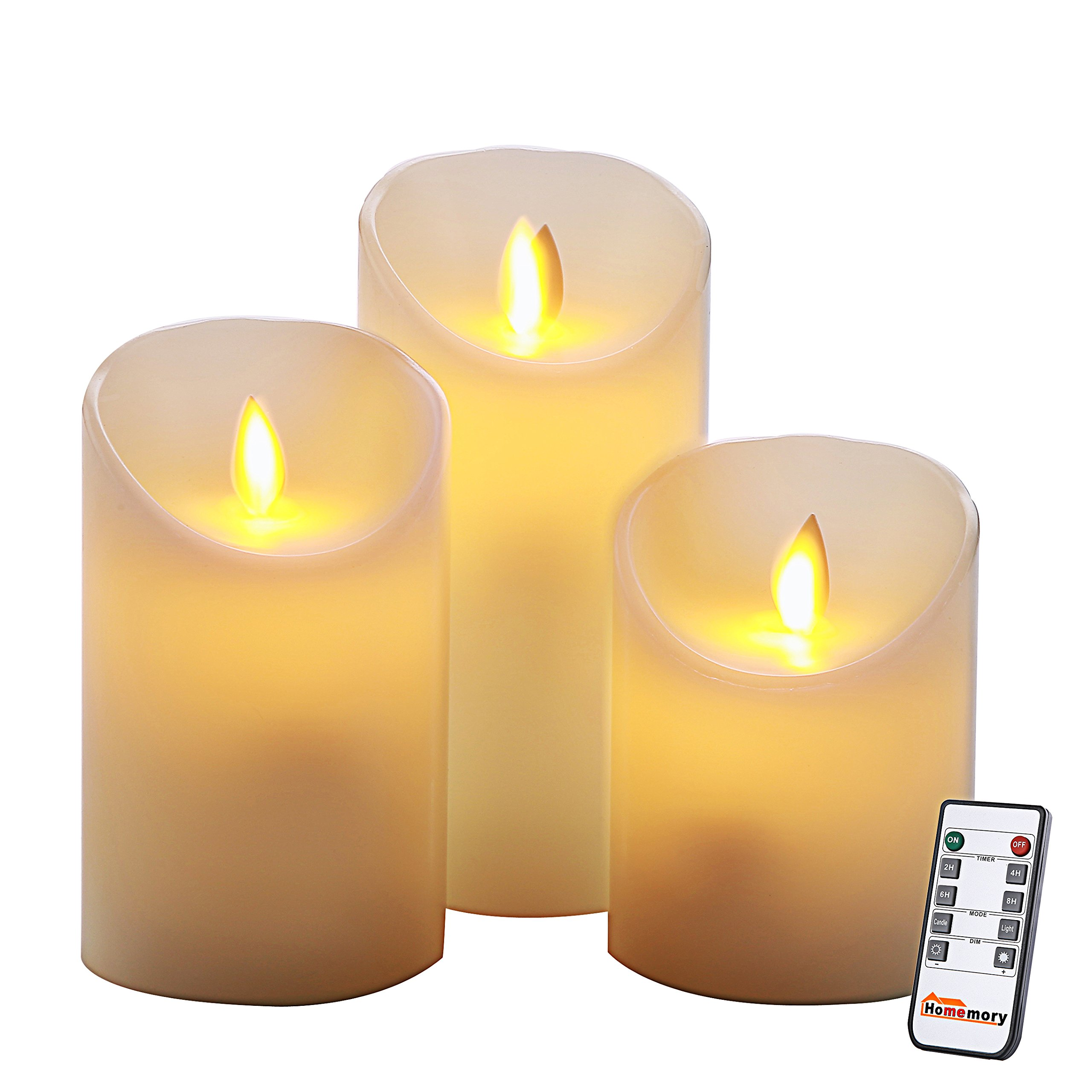 Homemory Realistic Flameless Candle with Remote, Battery Operated LED Pillar Timer Candle, Set of 3 Ivory Wax Electric Candle with Flickering Flame for Table, Wall Sconce, Spa, Bathroom by Homemory