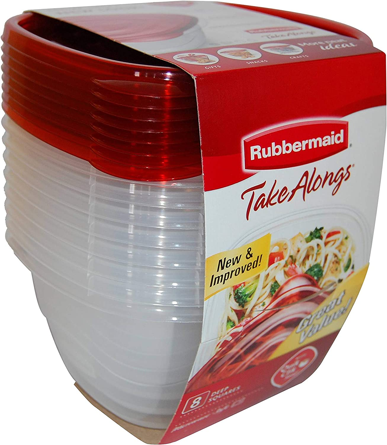 Rubbermaid TakeAlongs Deep Square Food Storage Containers, 5.2 cups, 8 pack