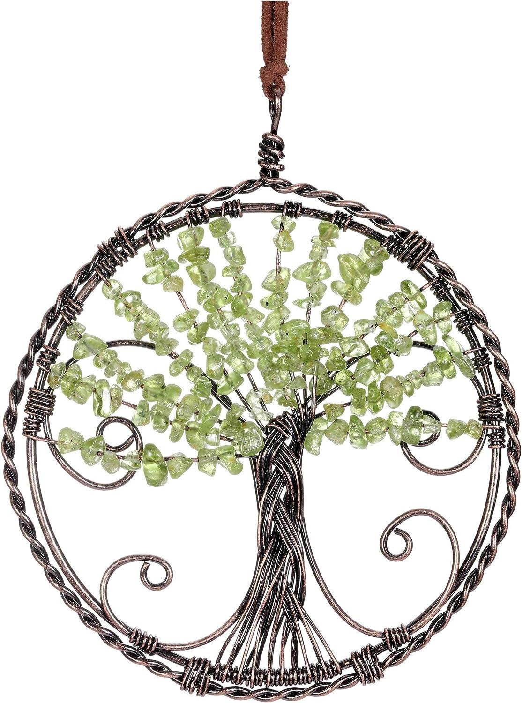 Jovivi Peridot Chakra Healing Tree of Life Crystal Hanging Ornament Tumbled Gemstone Reiki Haning Ornament Wall Window Hanger for Mediation Feng Shui Yoga Home Indoor Decor