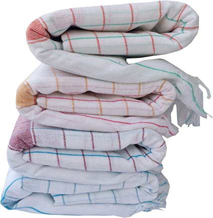 Fancyadda Handloom Cotton Bath Towels (Pack Of 4),White,X-Large, 36Wx72L, 3 Feet X 6 Feet,Cotton