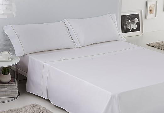 ES-TELA - Juego de sábanas LISOS BIÉS color Blanco (4 piezas) - Cama de 180 cm. - 50% Algodón / 50% Poliéster - 144 Hilos: Amazon.es: Hogar