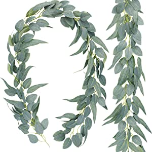 AGEOMET 2 Pack Artificial Eucalyptus Garland Eucalyptus Vine, Composed of 2 Types of Eucalyptus Leaves, Artificial Greenery Garland for Wedding Backdrop Arch Decor