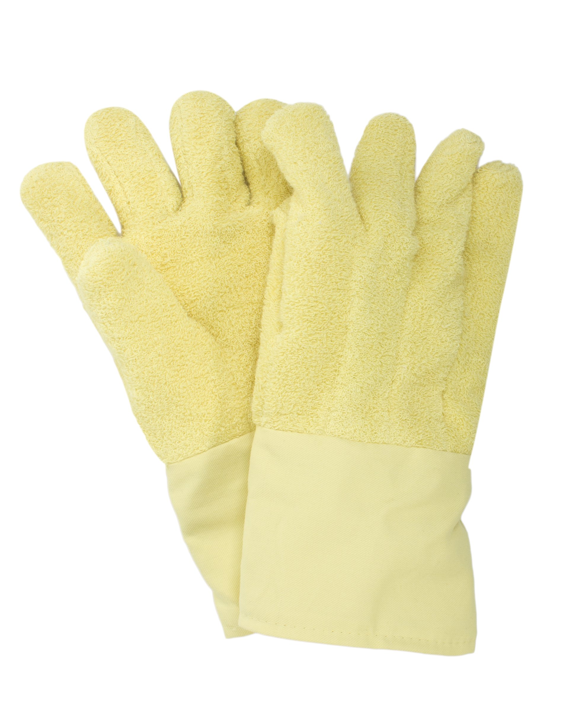 National Safety Apparel G51KTLW00214 Kevlar Terry Glove with Extra Felt Patch, Jumbo, Yellow