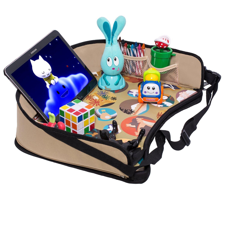 Bandeja de viaje para bebé para asiento de coche de DMoose, (42 x 34 cm), superficie sólida reforzada, resistentes paredes laterales, hebillas, bolsillos de malla, bandeja impermeable para merienda, b (Beige) TT-1
