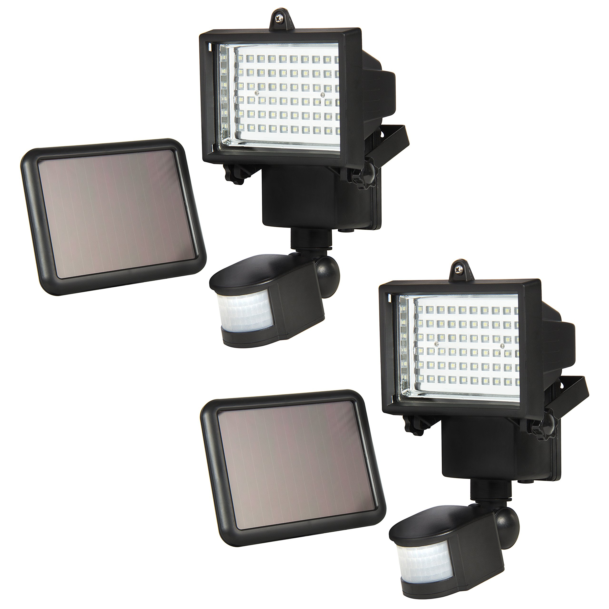 Best Choice Products 2-Pack Outdoor Solar Power Flood Light w/ 60 LED Lights, Motion Sensor, Timer - Black