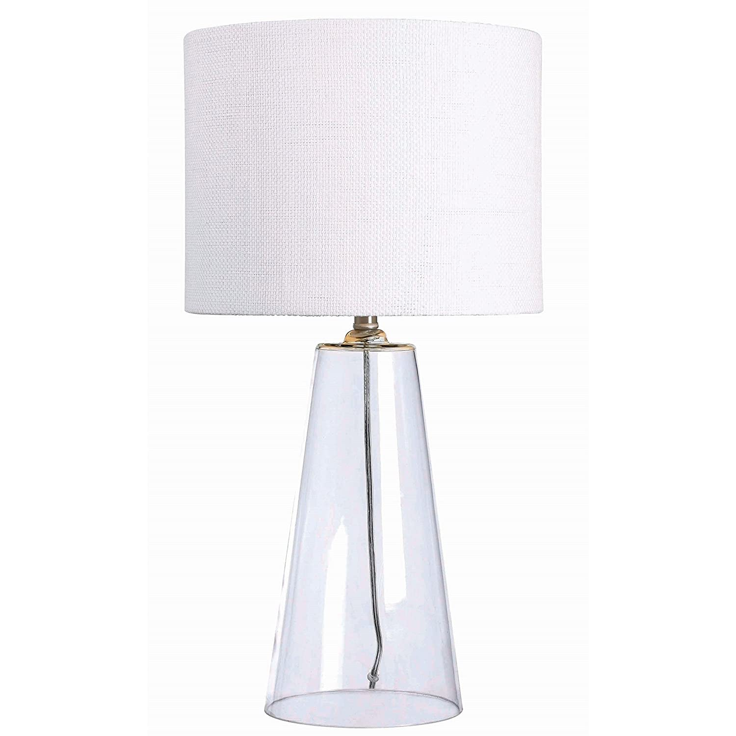 Modern 29 Inch Clear Glass Base Accent Table Lamp With Drum Shade