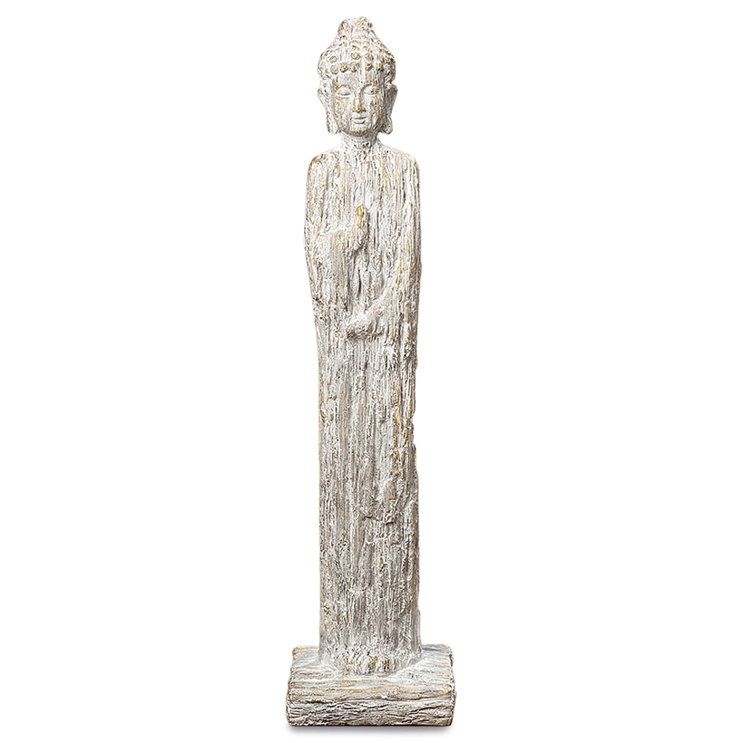 Whole House Worlds Urban Zen Buddha Statue, for Meditation Zones, Spas,or Gardens, Rustic Gray, Artisan Cast Magnesia, Shabby Distressed Tonal Gilt Patina, 32 1/4 Inches Tall,by WHW