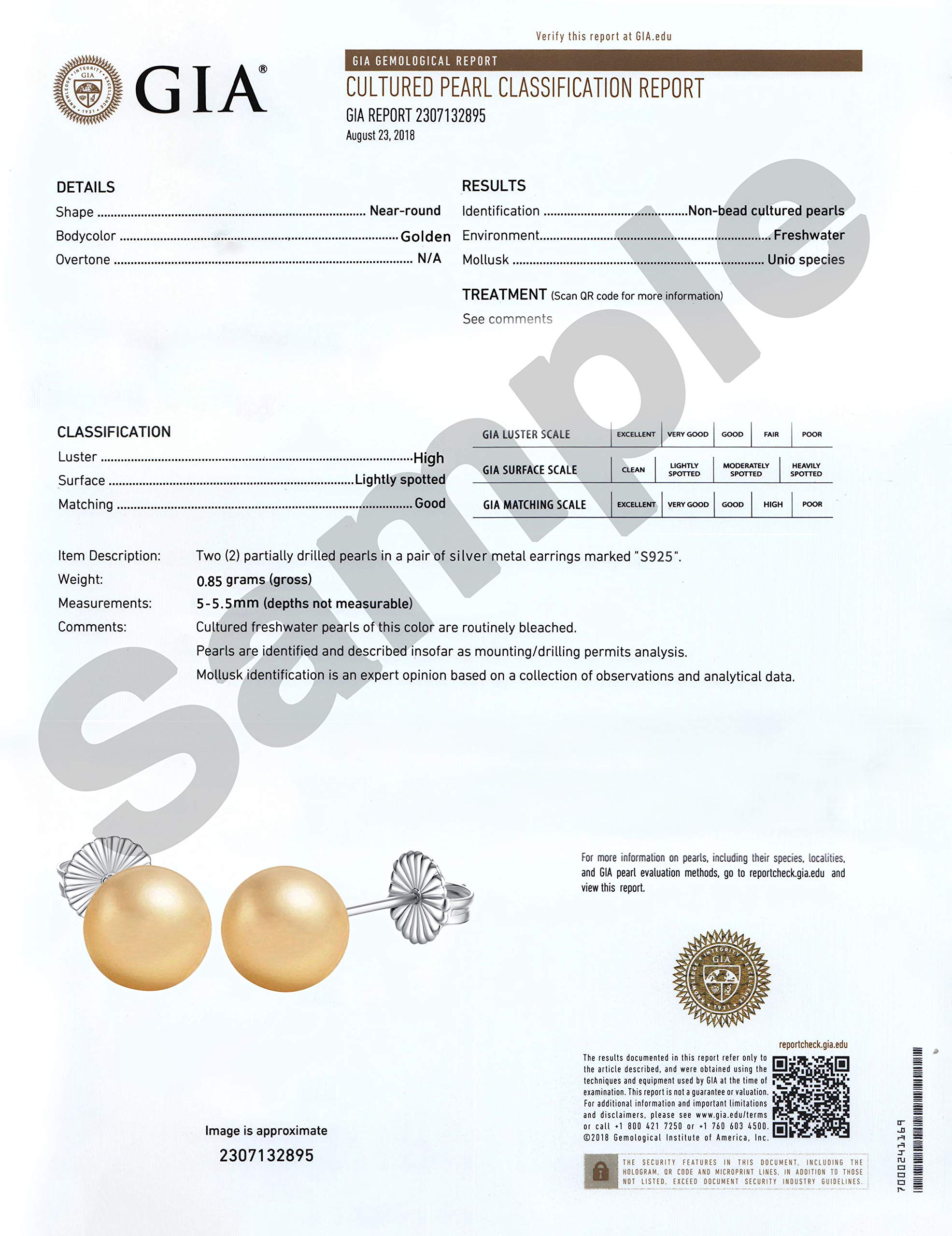 Sterling Silver 5-5.5mm Yellow Round Freshwater Cultured Pearl Stud Earrings -Handpicked AAA Quality