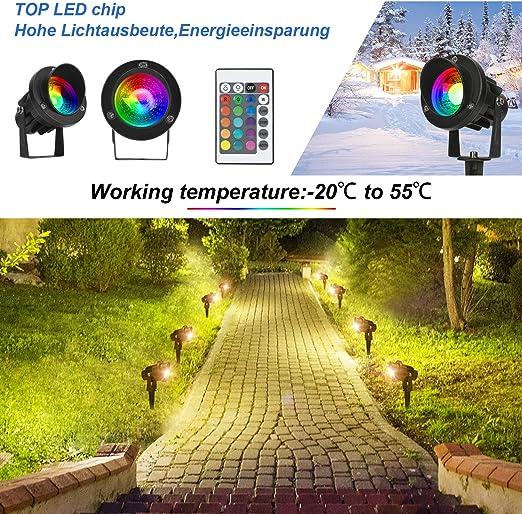LEDMO RGB Foco Proyector Exterior Foco COB LED con Estaca Lámpara Luz IP65 220V 10W Impermeable LED Bombilla Exteriores para Jardín Aire Libre Césped Patio Decoración: Amazon.es: Iluminación