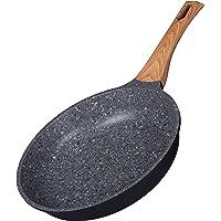 Kochstelle Sartén de granito gris de 25,4 cm, revestimiento antiadherente, sin PFOA, mango suave al tacto