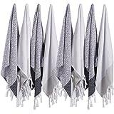 (SET of 8) Turkish Cotton Hand Face Head Guest Gym Towel Set Peshtemal Washcloth Kitchen Tea Towel Dish Cloth Set (Black-White)