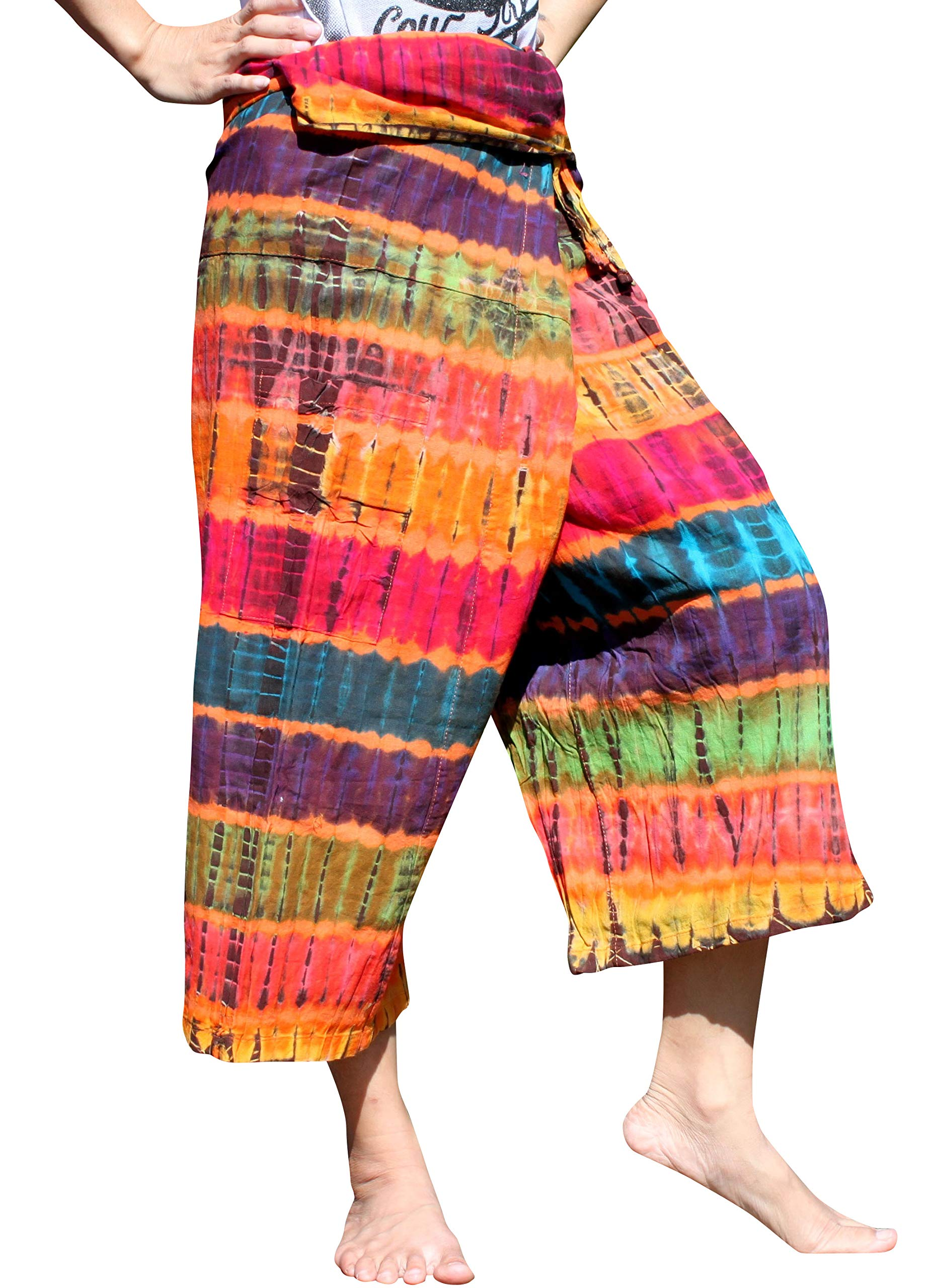 Full Funk Cotton Tie Dyed Natural Colorful Thai Fisherman Wrap 3/4 Leg Pants, Medium, Flame Orange by Full Funk