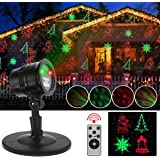 Christmas Laser Lights, Automatically Projector Lights with Snowflake/Jingling Bell/Xmas Tree/Santa Claus/RG Stars with Remote Control for Xmas, Party, Thanksgiving Day Decoration Lights