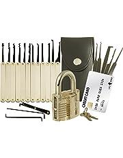 Set de ganzúas con 20 piezas - Incluye candado transparente y tarjeta de crédito con herramientas