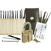 20-Piece Lock Pick Set with Transparent Training Padlock and Credit Card Lock Picking Tool Kit by LockCowboy + Guide for Beginner and Pro Locksmiths
