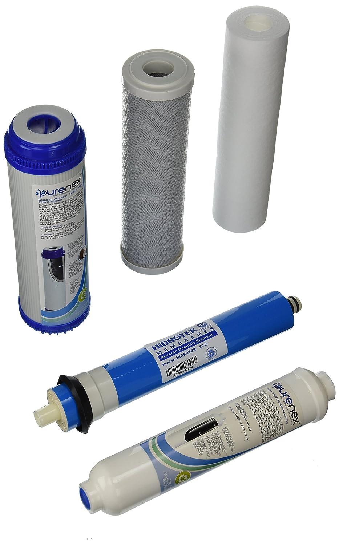 Purenex 1C-1GAC-1S-1I-1M50 Reverse Osmosis RO Filter Replacement Set with 50 GPD Membrane