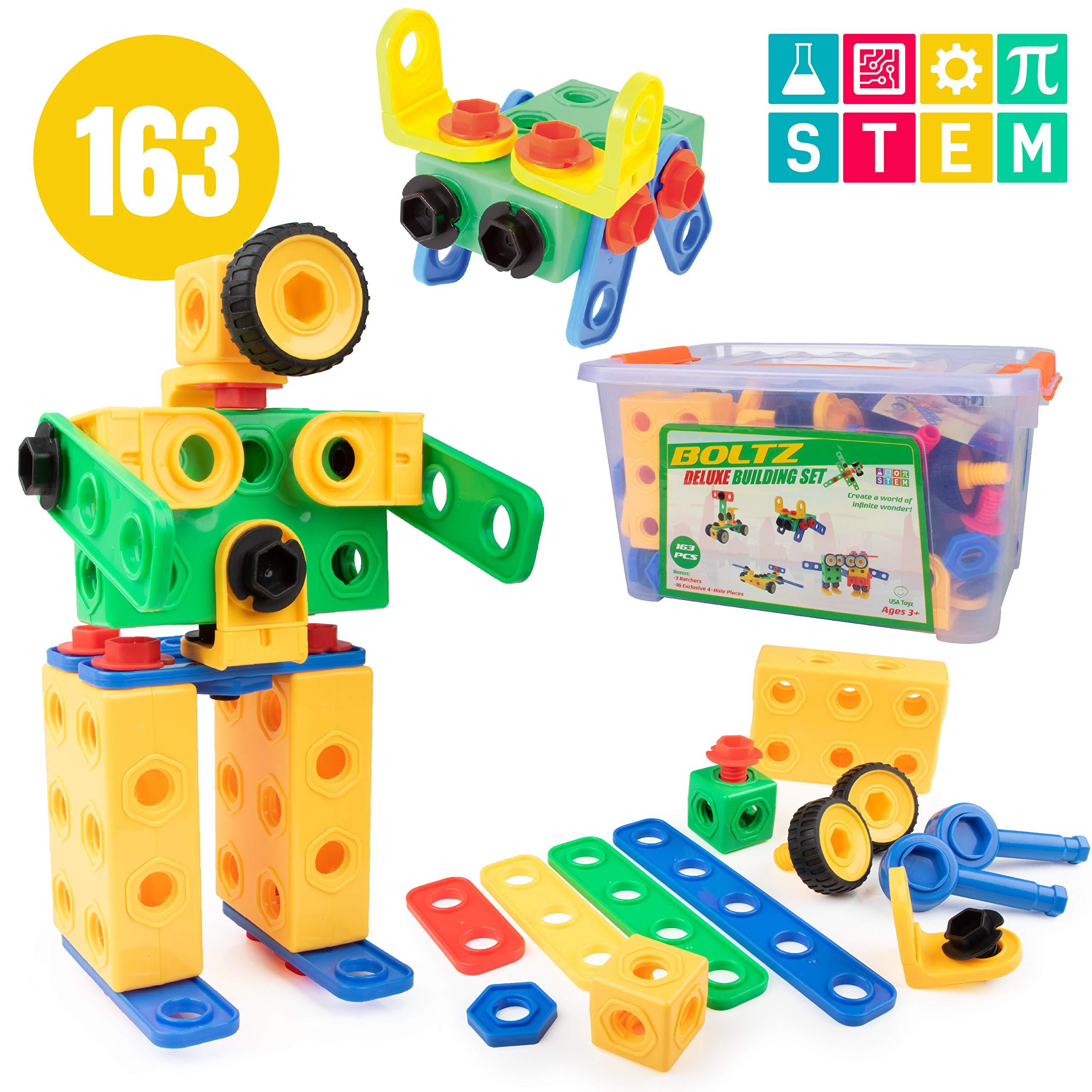 3f89e400687a USA Toyz 163pk STEM Building Toys for Kids – Educational Preschool  Kindergarten Building Games