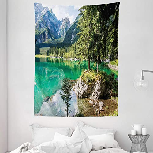 Ambesonne Rustic Tapestry, Alpine Lake Laghi di Fusine Forest Rocks Mountain Landscape, Wall Hanging for Bedroom Living Room Dorm, 60 X 80 , Jade Green