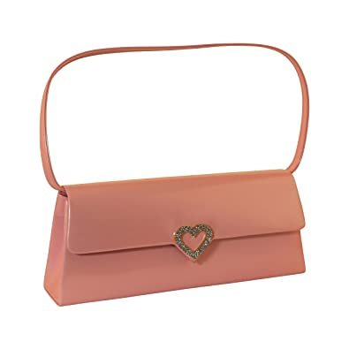f903db884ace53 Image Unavailable. Image not available for. Color: Pink Womens Evening Bag  - Faux Leather Patent Crystal Heart Design Clutch Purse for Ladies PS7817PK