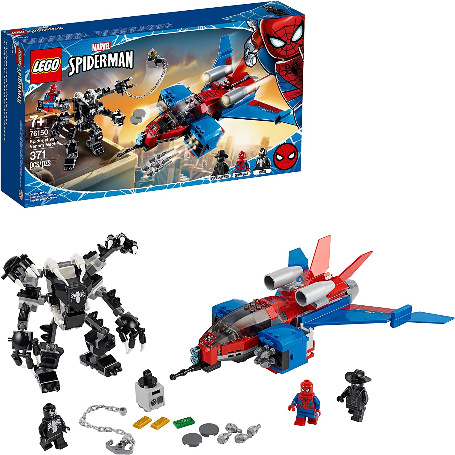 LEGO Marvel Spider-Man Spider-Jet vs Venom Mech 76150 Superhero Gift for Kids with Minifigures, Mech and Plane, New 2020 (371 Pieces)